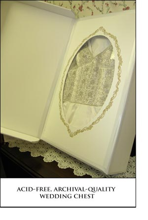 Anthonys Cleaners provides Acid-Free, Archival-Quality Wedding Chests for your dress.
